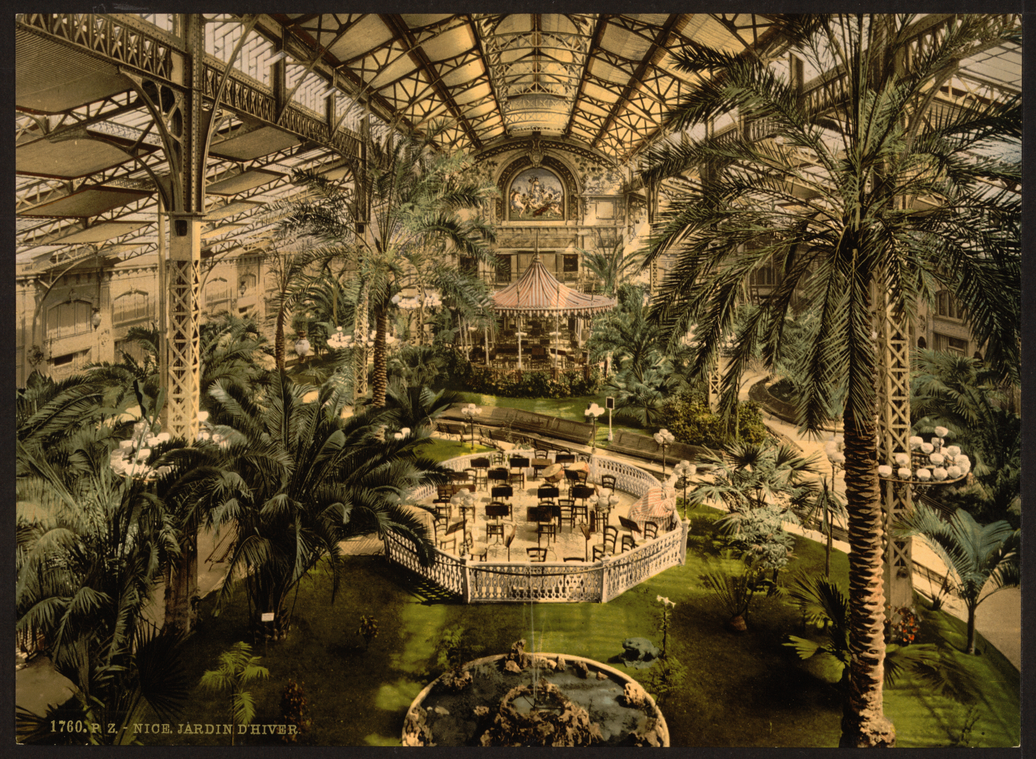 Indoor Winter Garden Nice France Postcard circa 1890 1900
