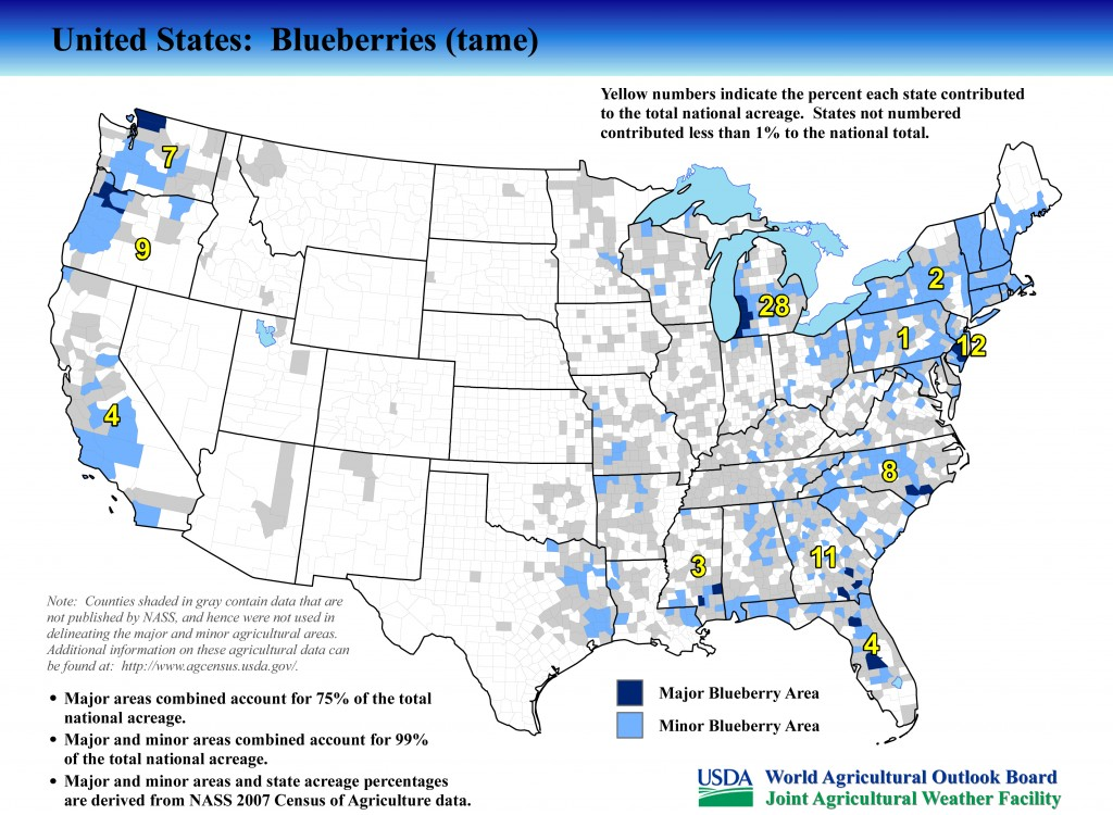 Where Are Blueberries Grown In The United States - Us growing season map
