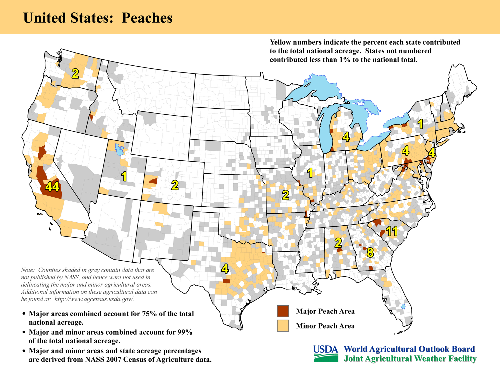map united states top peach producing areas and growing season