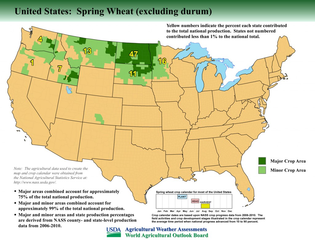Map: United States Top Spring Wheat Producing Areas and Growing Season