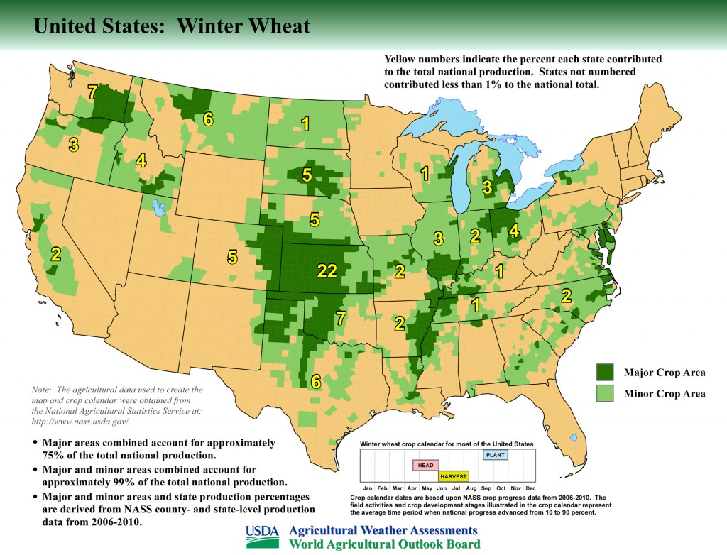 Map: United States Top Winter Wheat Producing Areas and Growing Season