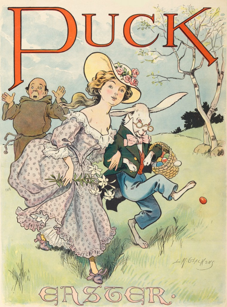 Easter Bunny, Woman And Monk - Puck Illustration By Louis Glackens Circa 1902