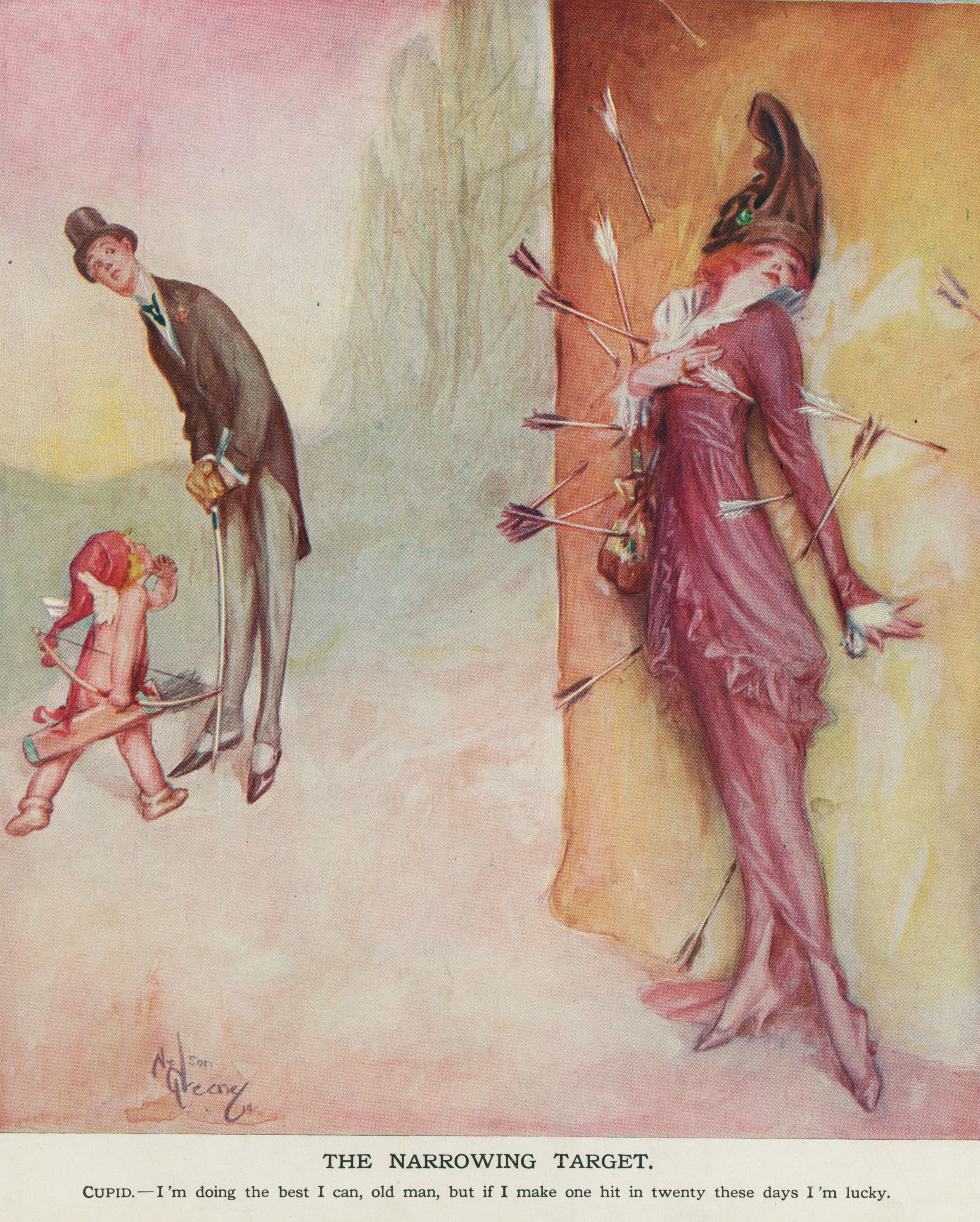 Valentine Cupid, Man and Woman - Puck Illustration By Nelson Greene Circa Feb 1914