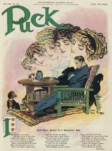 Valentine Lonesome Lad - Puck Illustration By Gordon Ross Circa Feb 1911
