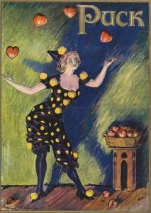 Valentine Woman Juggling Hearts - Puck Magazine Illustration By Frank Nankivell Circa Feb 1911