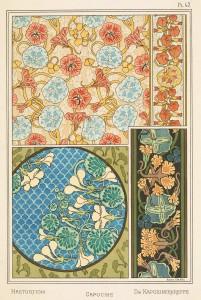 Anna Martin Art Nouveau Illustration: Nasturtium - Capucine - Kapuzinerkreffe