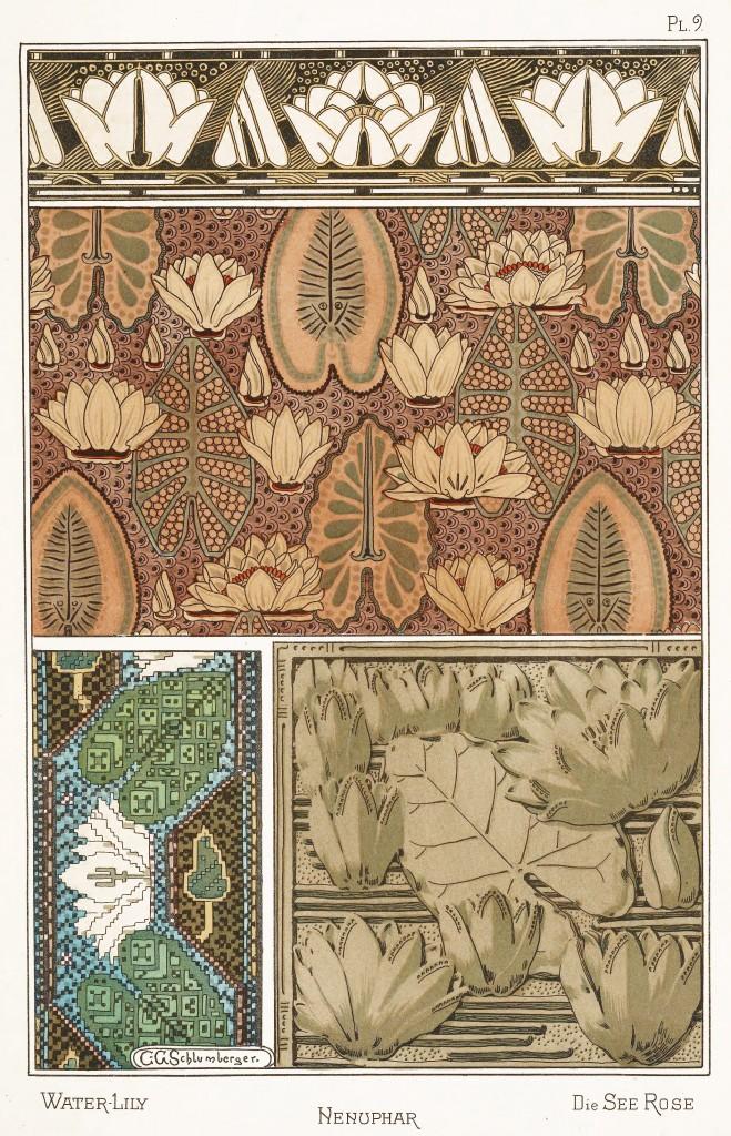 Camille Gabriel Schlumberger Art Nouveau Illustration: Water Lily - Nenuphar - Seerose