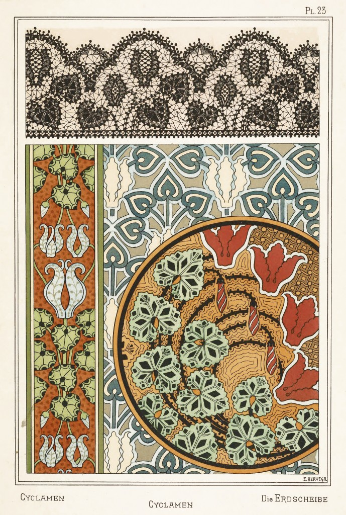 E Hervegh Art Nouveau Illustrations: Cyclamen - Erdscheibe