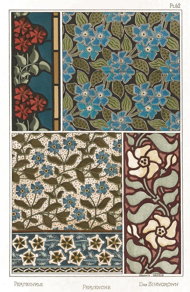 Marcelle Gaudin Art Nouveau Illustration - Periwinkle - Pervenche