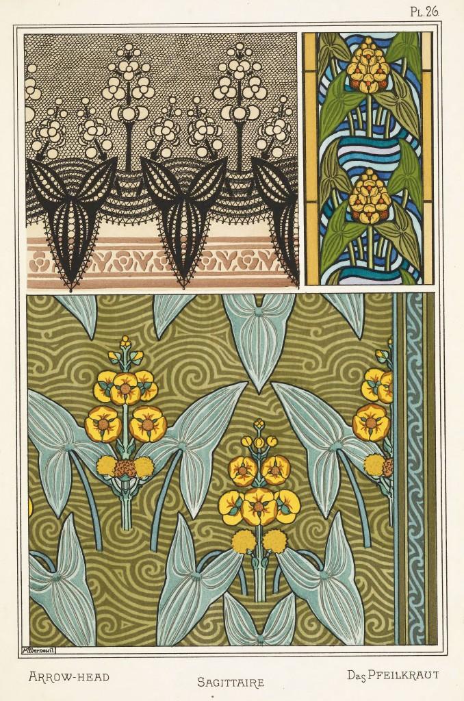 Maurice Pillard Verneuil Art Nouveau Illustration: Arrowhead - Sagittaire - Pfeilkraut