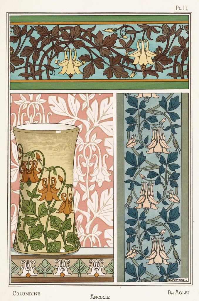 Maurice Pillard Verneuil Art Nouveau Illustration: Columbine - Ancolie - Aglei