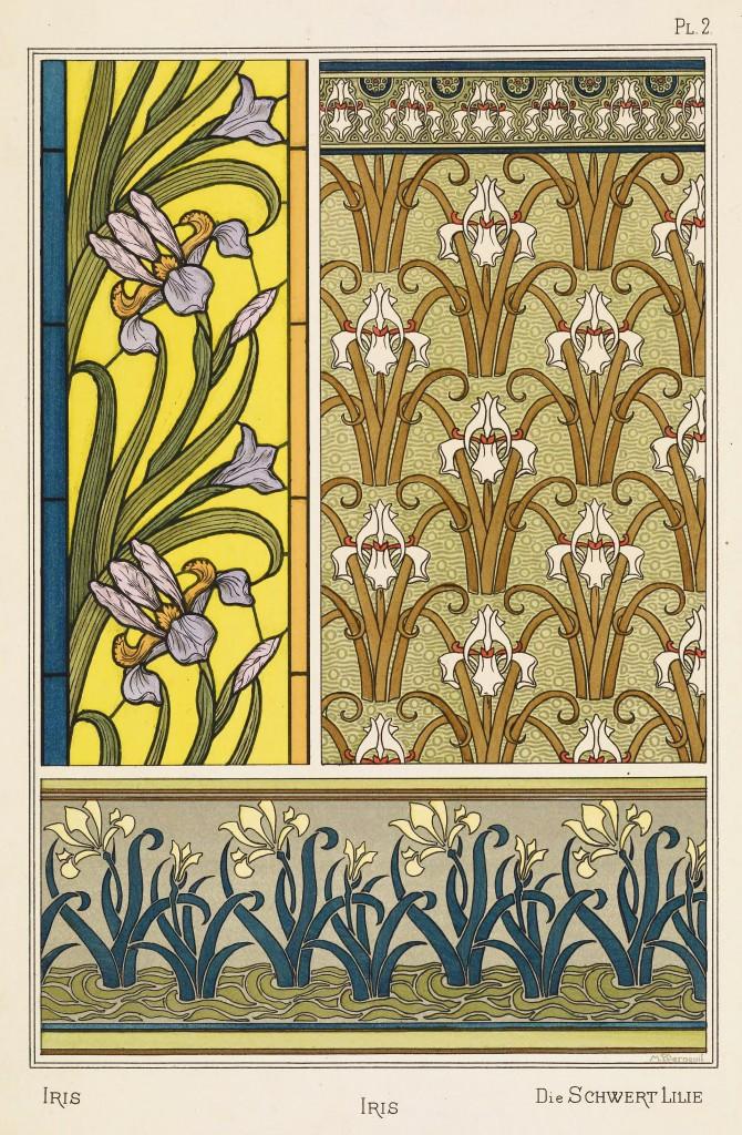 Maurice Pillard Verneuil Art Nouveau Illustration: Iris - Schwert Lilie