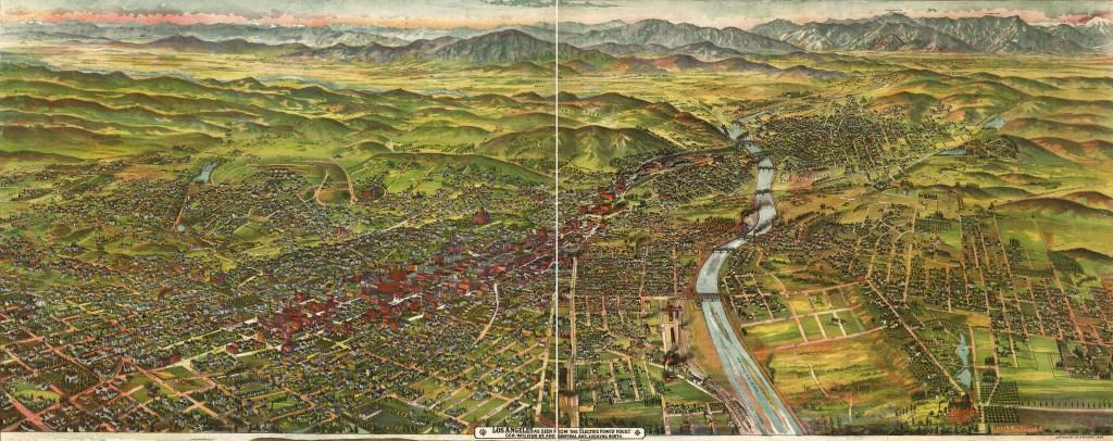 Bird's Eye View of Los Angeles circa 1894