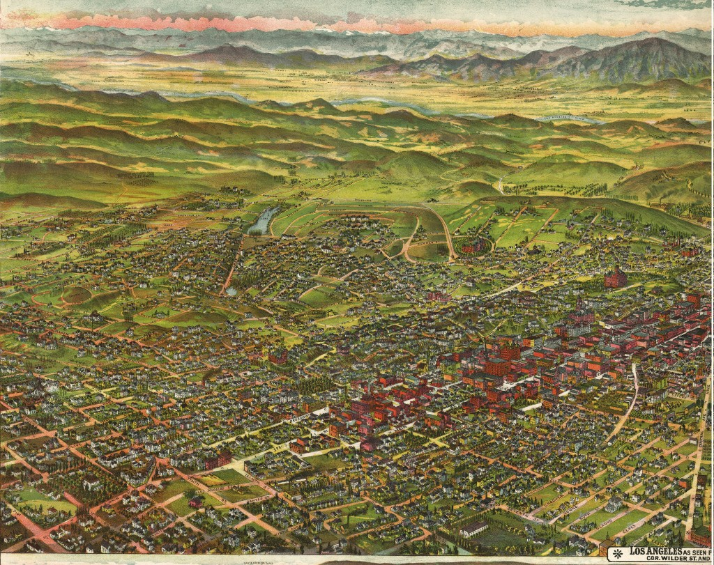 Bird's Eye View of Los Angeles circa 1894