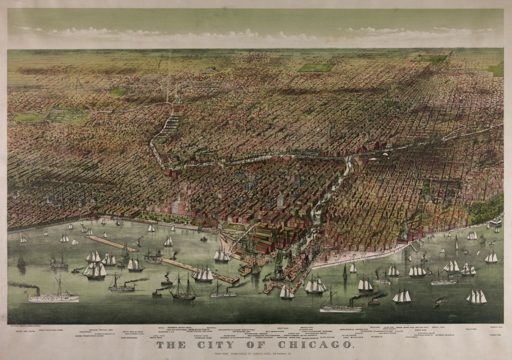 Bird's Eye View of Chicago circa 1892 by Currier and Ives