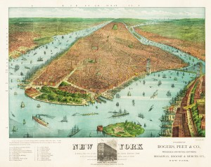 Bird's Eye View of New York circa 1879 by Currier and Ives