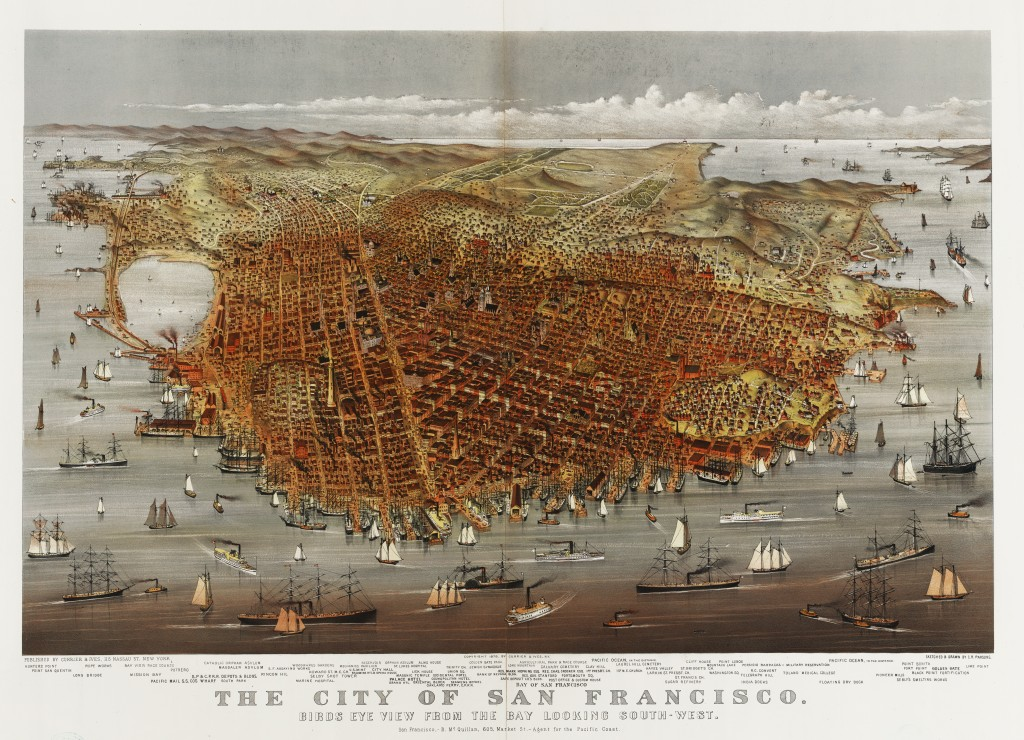 Bird's Eye View of San Francisco circa 1878 by Currier and Ives