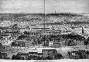 Bird's-eye View of Washington DC in 1869 from Harper's