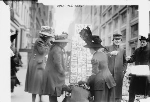 Buying Christmas Cards Street Scene 1900