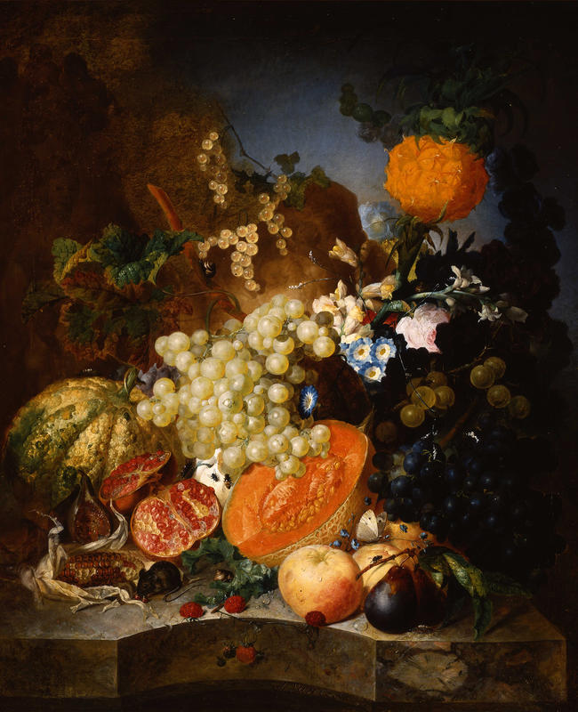 Jan van Os Oil Still Life Painting with Fruit Insects and a Ratdated 1769 Image 0
