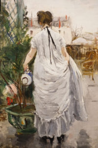 Berthe Morisot Oil Painting Young Woman Watering a Shrub 1876 image 2