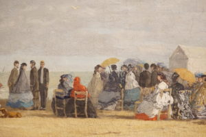 Beach Scene at Deauville by Eugene Boudin dated 1865 image 3