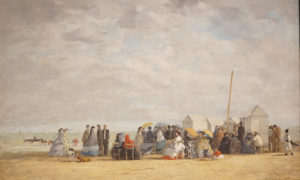 Beach Scene at Deauville by Eugene Boudin dated 1865 image 4