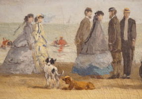 Beach Scene at Deauville by Eugene Boudin dated 1865 image 1