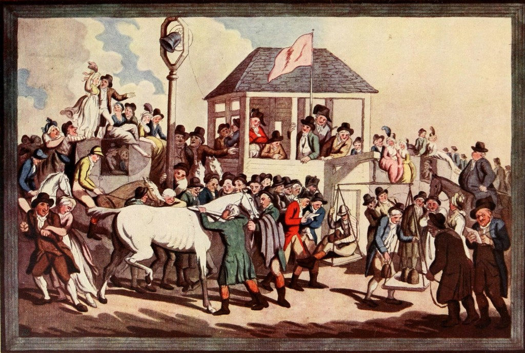 Weighing Set Of Six Racing Scenes By Rowlandson